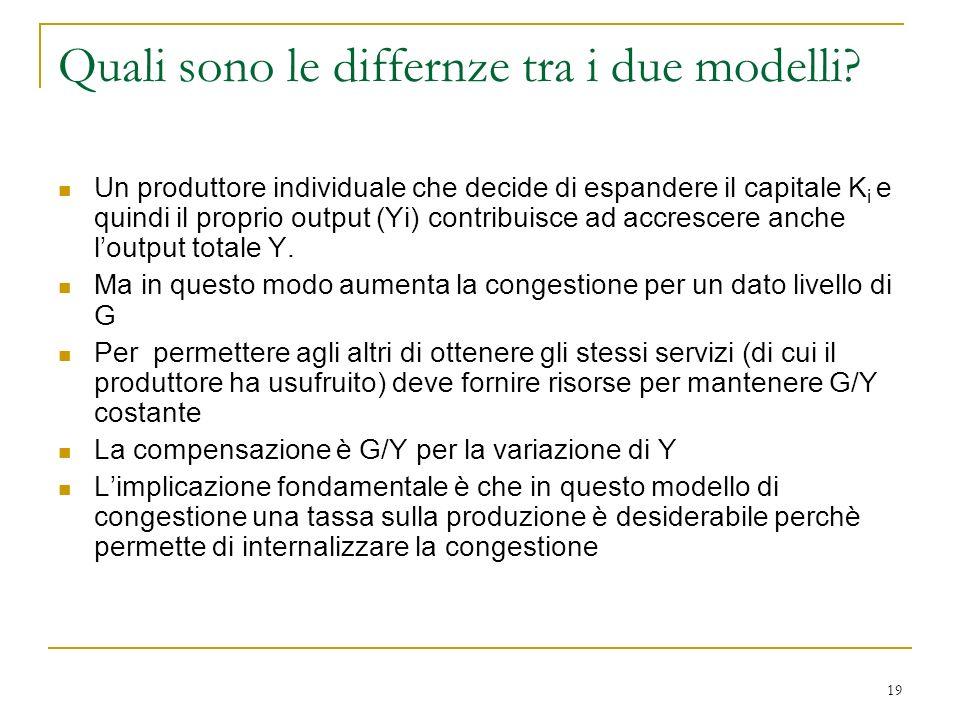 19 Quali sono le differnze tra i due modelli? Un produttore individuale che decide di espandere il capitale K i e quindi il proprio output (Yi) contri