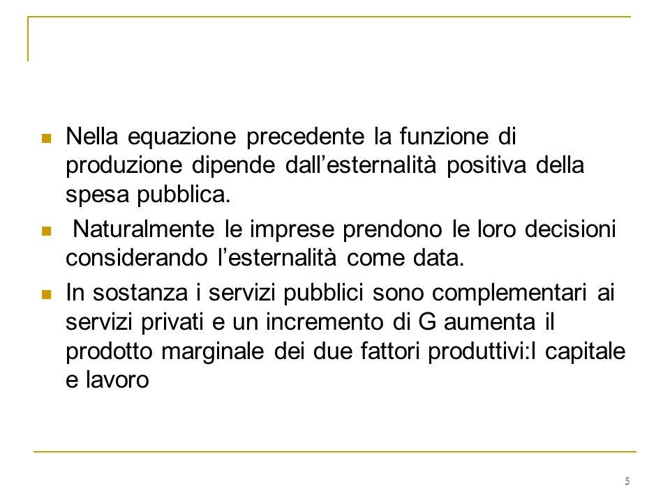 5 Nella equazione precedente la funzione di produzione dipende dallesternalità positiva della spesa pubblica. Naturalmente le imprese prendono le loro