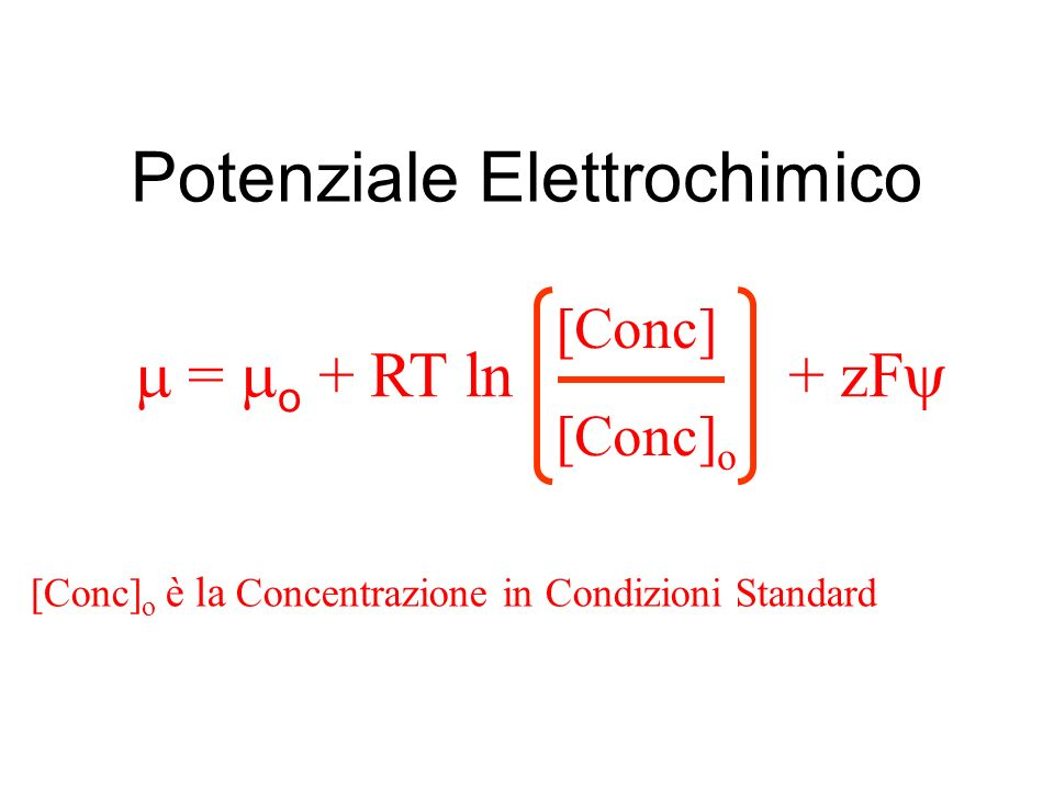 Potenziale Elettrochimico = o + RT ln + zF [Conc] [Conc] o [Conc] o è la Concentrazione in Condizioni Standard