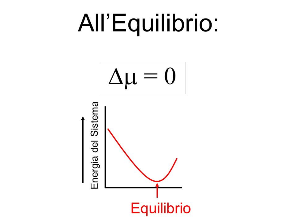 Per una Reazione che va verso lEquilibrio: < 0 Equilibrio Energia del Sistema