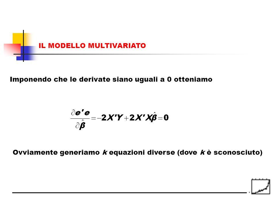 Imponendo che le derivate siano uguali a 0 otteniamo Ovviamente generiamo k equazioni diverse (dove k è sconosciuto) IL MODELLO MULTIVARIATO