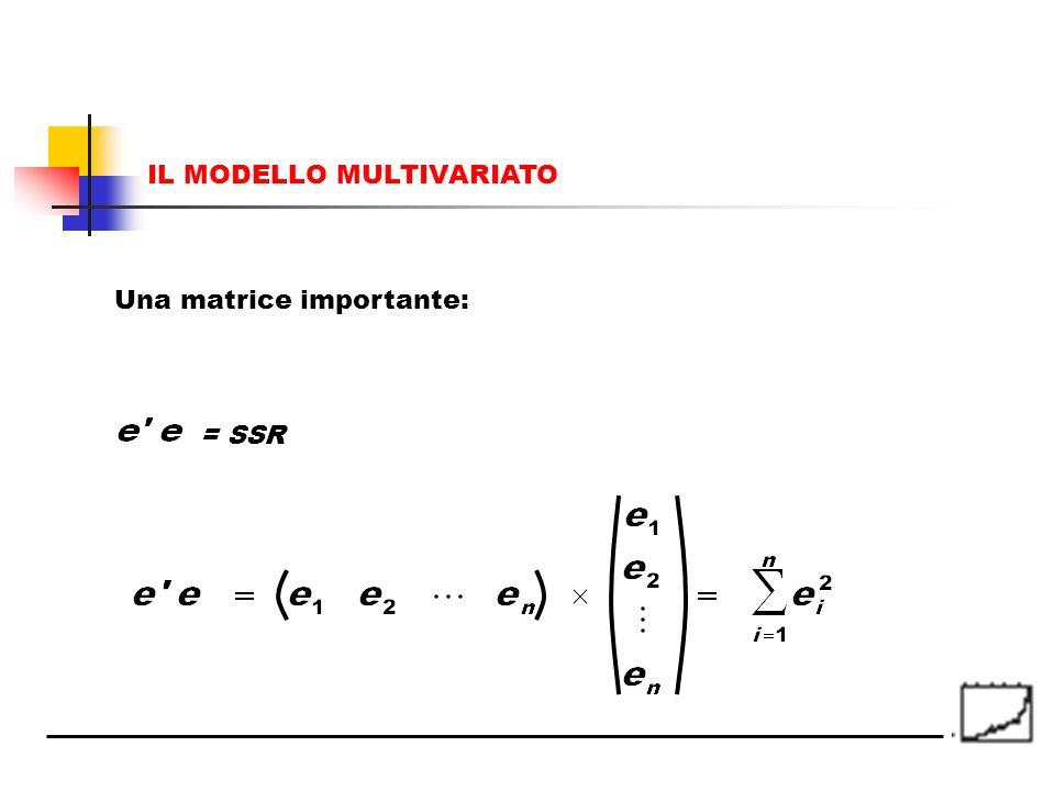 Una matrice importante: = SSR IL MODELLO MULTIVARIATO