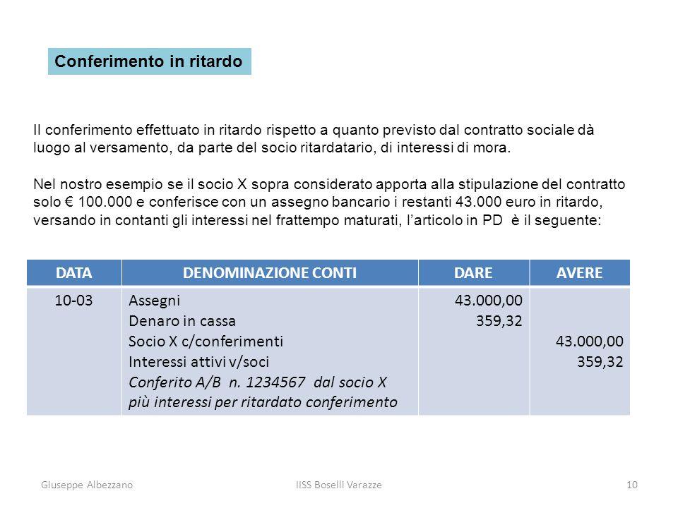 Giuseppe AlbezzanoIISS Boselli Varazze11 Il conferimento di denaro o assegni è sicuramente la forma più diffusa di apporto iniziale in quanto garantisce allimpresa la massima elasticità di impiego.