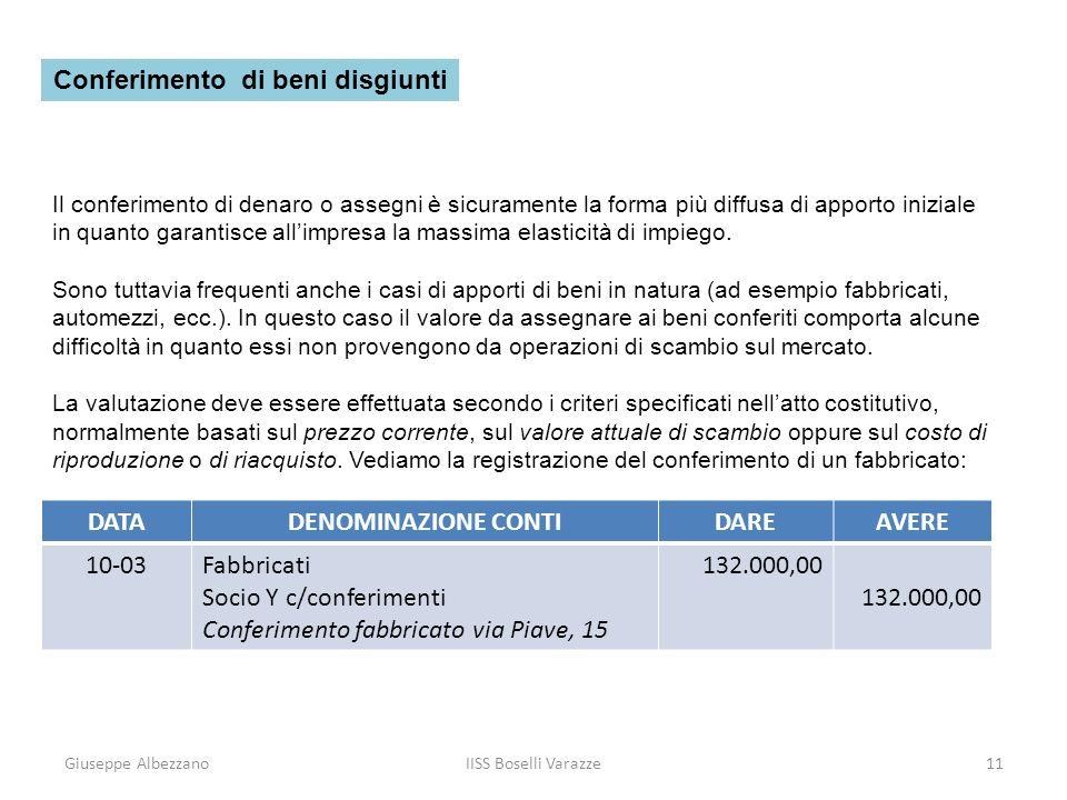 Giuseppe AlbezzanoIISS Boselli Varazze11 Il conferimento di denaro o assegni è sicuramente la forma più diffusa di apporto iniziale in quanto garantis