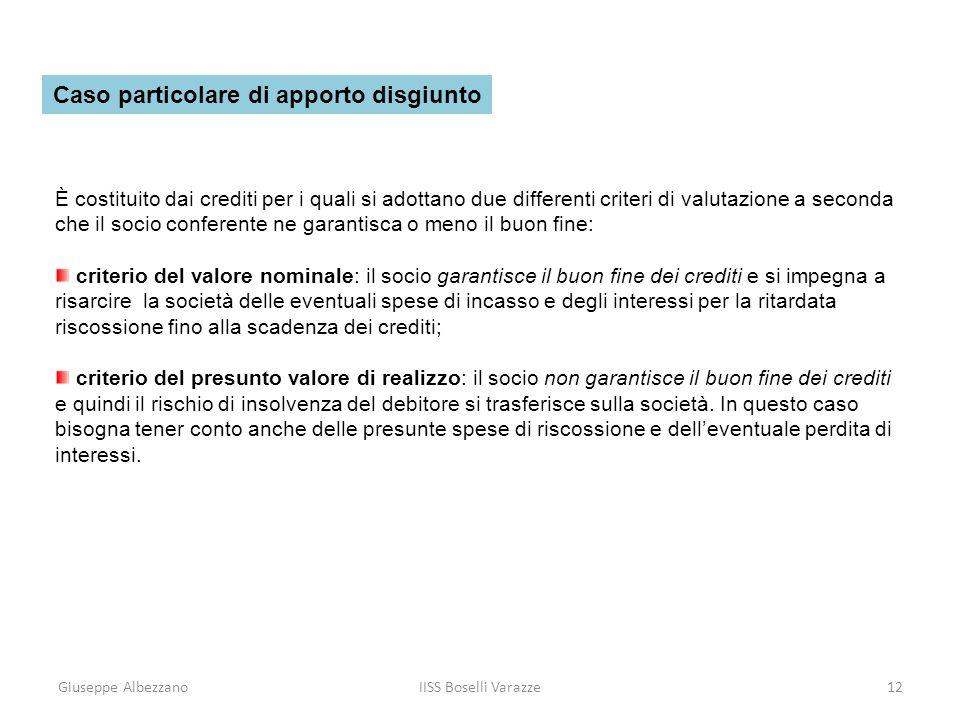 Giuseppe AlbezzanoIISS Boselli Varazze12 È costituito dai crediti per i quali si adottano due differenti criteri di valutazione a seconda che il socio
