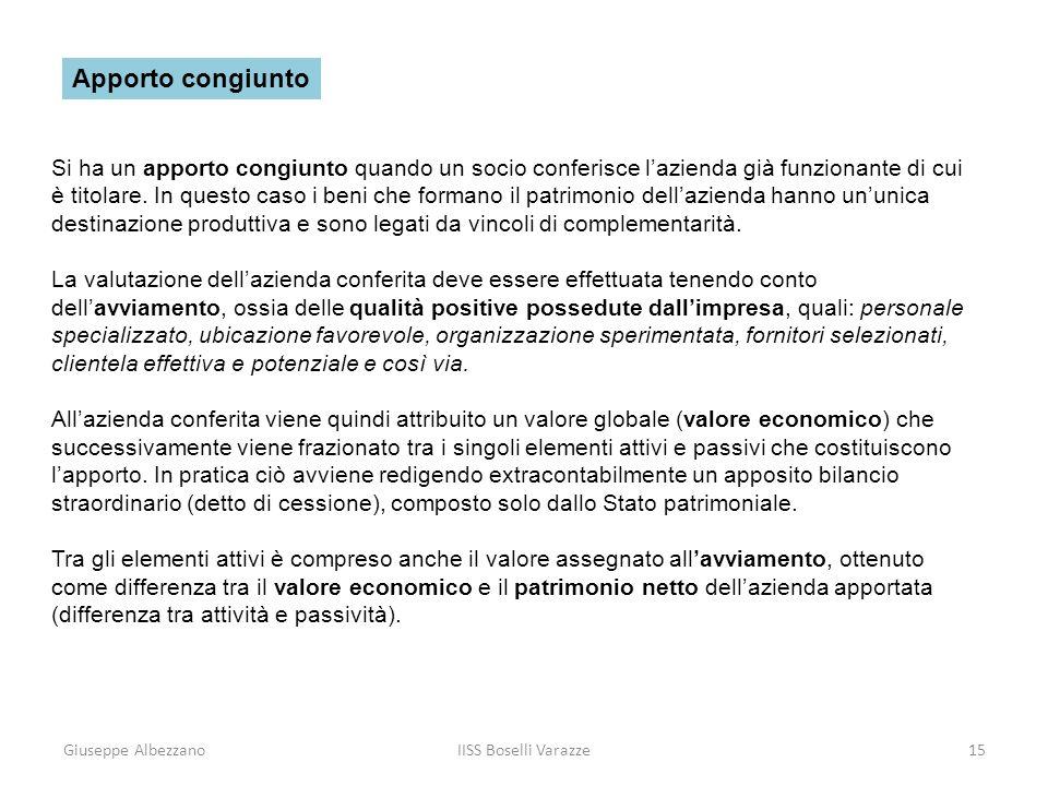 Giuseppe AlbezzanoIISS Boselli Varazze15 Si ha un apporto congiunto quando un socio conferisce lazienda già funzionante di cui è titolare. In questo c