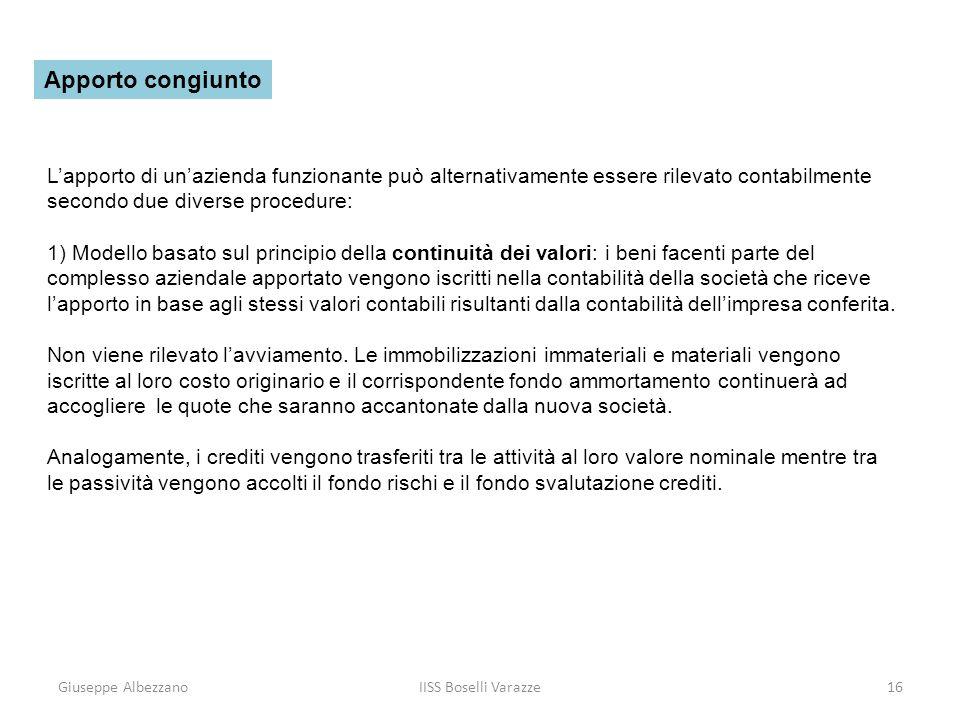 Giuseppe AlbezzanoIISS Boselli Varazze17 2) modello basato sul principio delladeguamento dei valori: il conferimento viene ad assumere la stessa configurazione della vendita di un complesso di beni a fronte del quale il socio conferente non riceve moneta ma una quota di partecipazione al capitale della società che riceve lapporto.