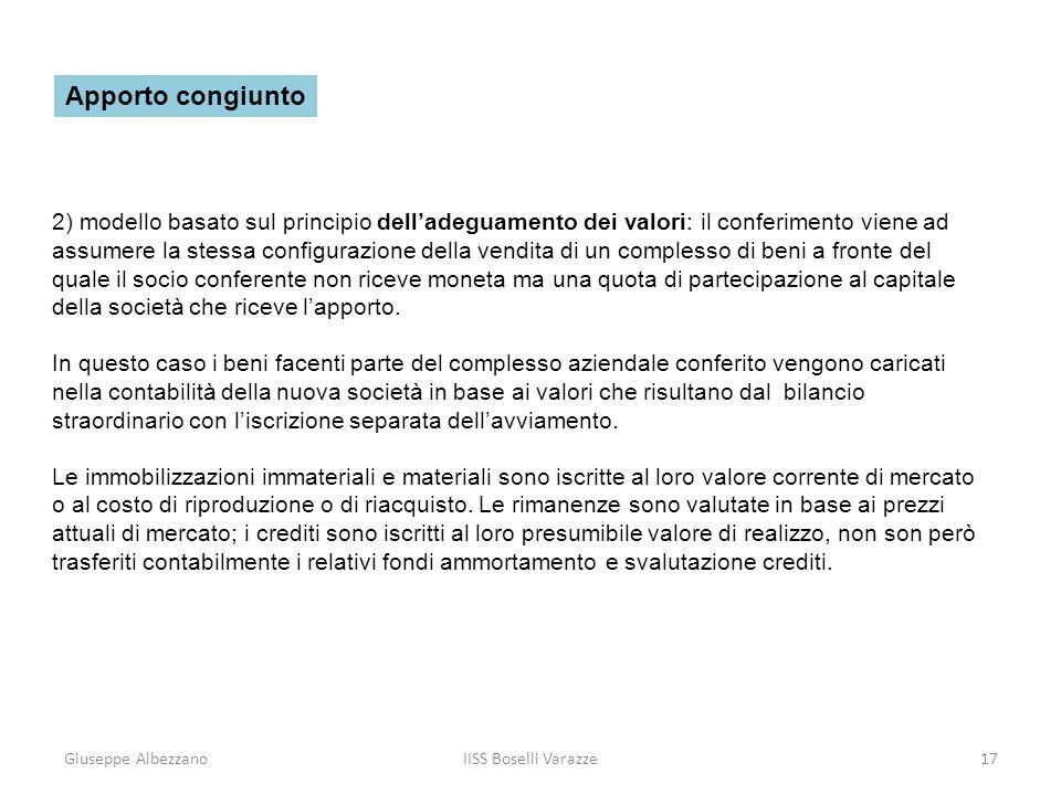 Giuseppe AlbezzanoIISS Boselli Varazze17 2) modello basato sul principio delladeguamento dei valori: il conferimento viene ad assumere la stessa confi