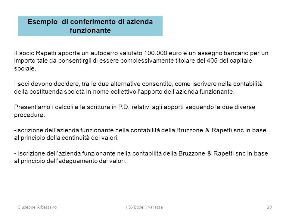 Giuseppe AlbezzanoIISS Boselli Varazze21 Iscrizione dellapporto del socio Bruzzone in base al principio della continuità dei valori Utilizzando questa procedura, nel giornale in P.D.