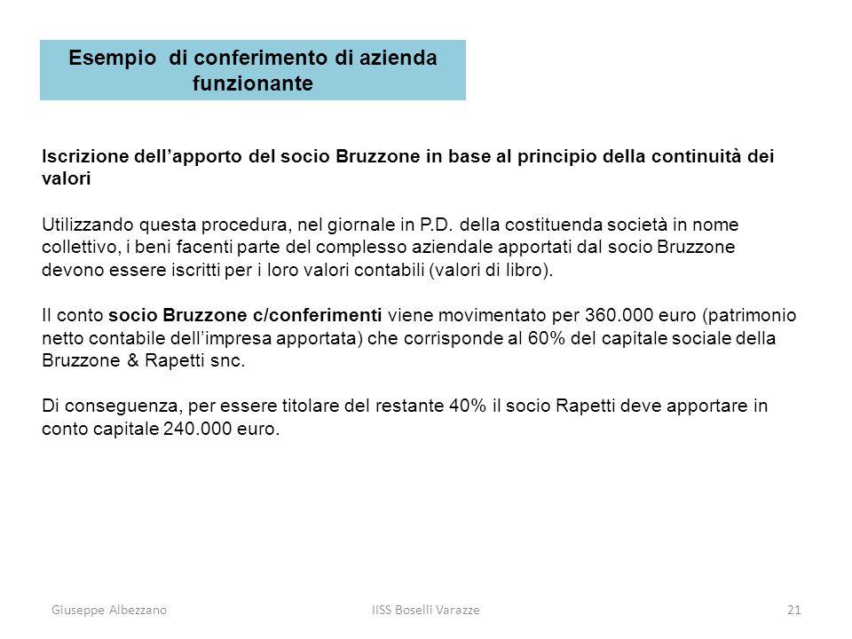 Giuseppe AlbezzanoIISS Boselli Varazze21 Iscrizione dellapporto del socio Bruzzone in base al principio della continuità dei valori Utilizzando questa