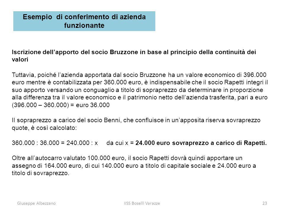 Giuseppe AlbezzanoIISS Boselli Varazze23 Iscrizione dellapporto del socio Bruzzone in base al principio della continuità dei valori Tuttavia, poiché l