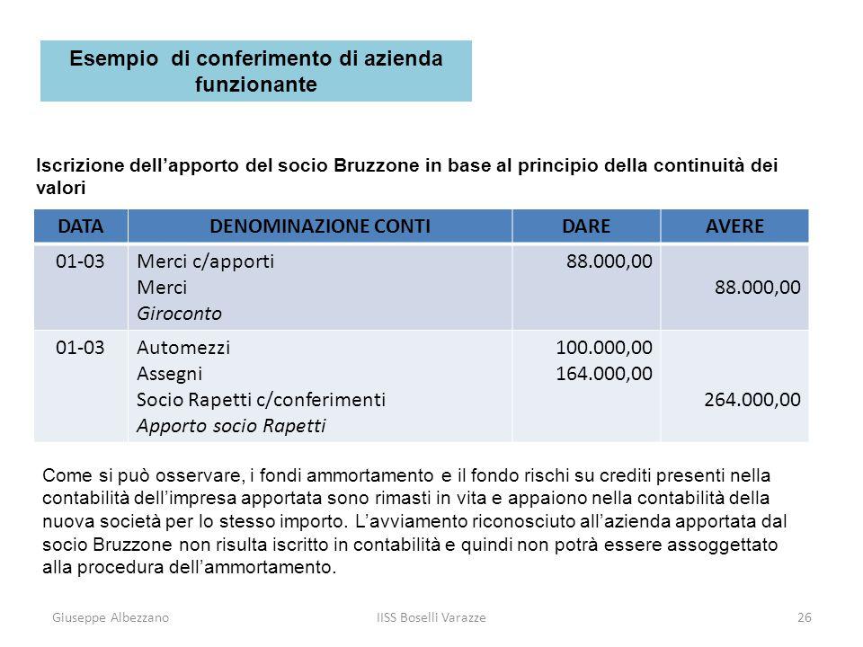 Giuseppe AlbezzanoIISS Boselli Varazze27 Iscrizione dellapporto del socio Bruzzone in base al principio delladeguamento dei valori Secondo questo principio, il conto Socio Bruzzone c/conferimenti viene movimentato per 396.000 euro (valore economico dellazienda conferita).