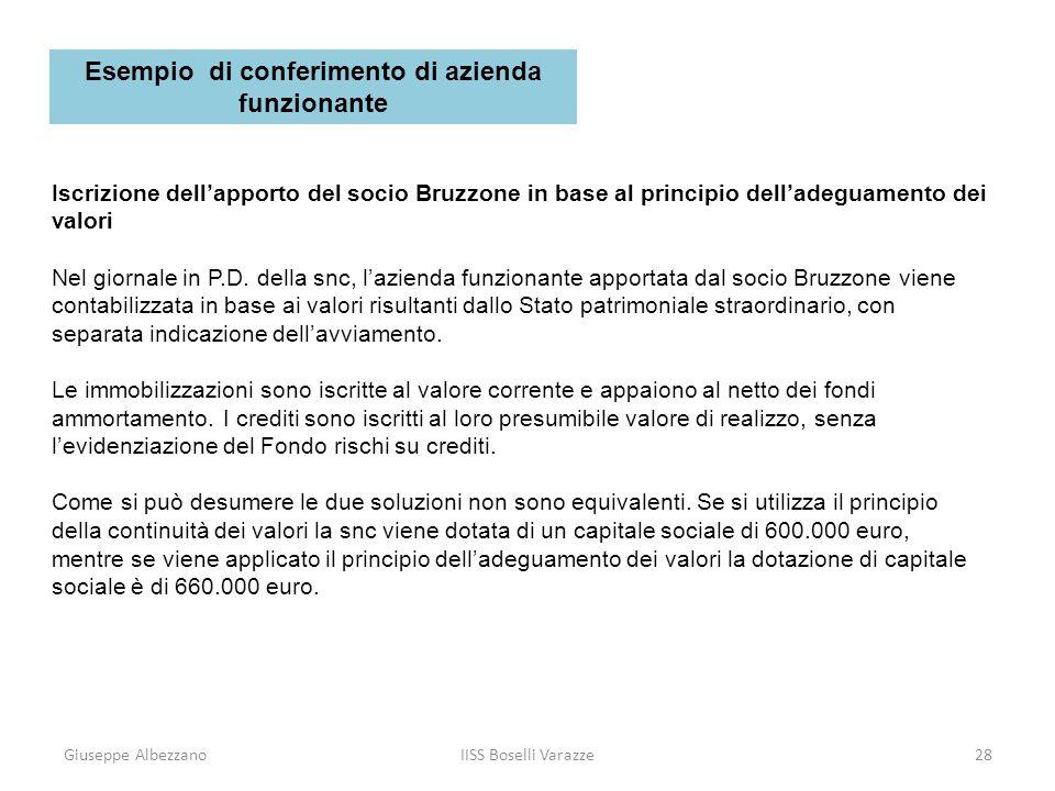 Giuseppe AlbezzanoIISS Boselli Varazze29 Iscrizione dellapporto del socio Bruzzone in base al principio delladeguamento dei valori Limporto del patrimonio netto nel primo caso è di 624.000 euro (Capitale sociale + Riserva sopraprezzo quote).