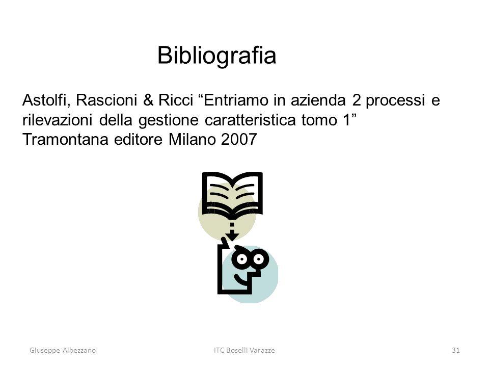 Giuseppe AlbezzanoITC Boselli Varazze31 Astolfi, Rascioni & Ricci Entriamo in azienda 2 processi e rilevazioni della gestione caratteristica tomo 1 Tr