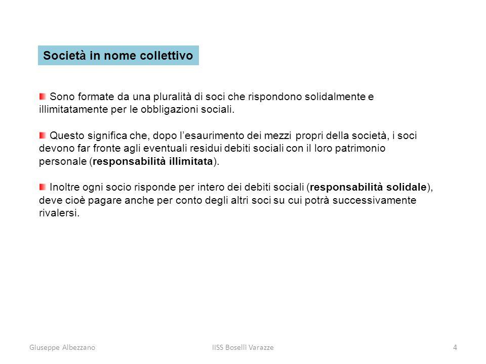 Giuseppe AlbezzanoIISS Boselli Varazze5 Società in accomandita semplice Sono caratterizzate da due categorie di soci: i soci accomandatari e i soci accomandanti.