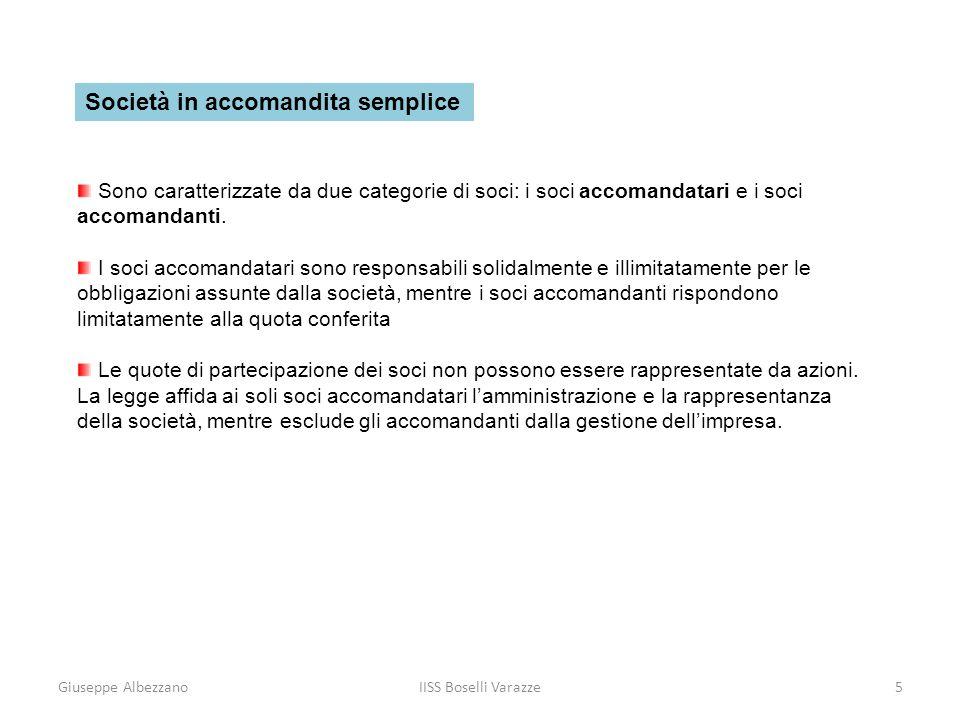 Giuseppe AlbezzanoIISS Boselli Varazze5 Società in accomandita semplice Sono caratterizzate da due categorie di soci: i soci accomandatari e i soci ac