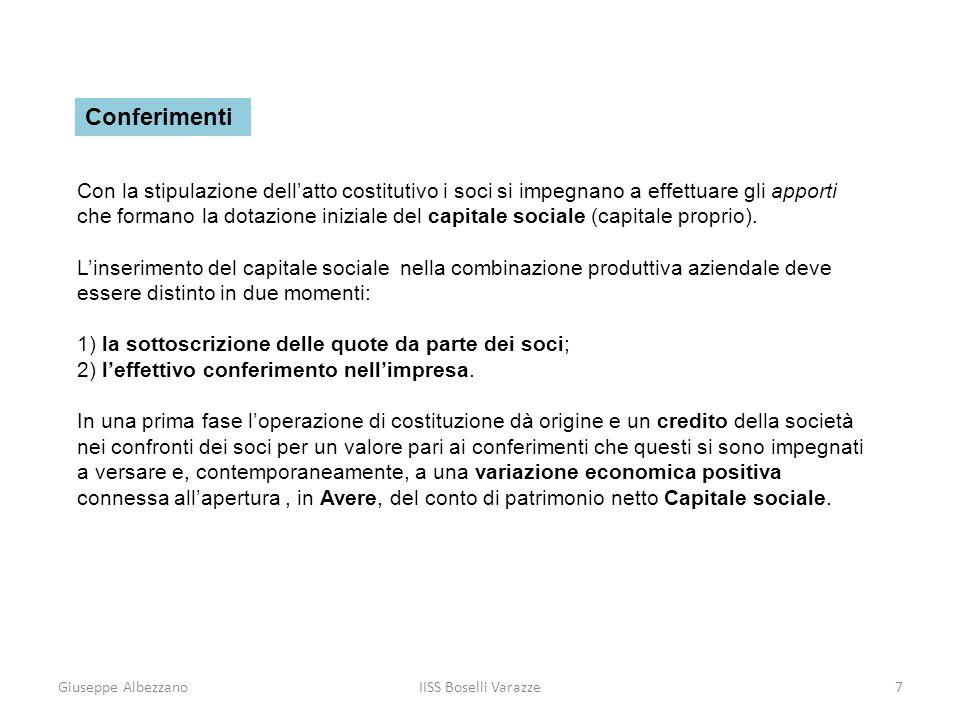 Giuseppe AlbezzanoIISS Boselli Varazze7 Conferimenti Con la stipulazione dellatto costitutivo i soci si impegnano a effettuare gli apporti che formano