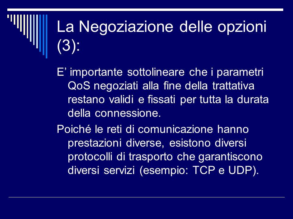 La Negoziazione delle opzioni (3): E importante sottolineare che i parametri QoS negoziati alla fine della trattativa restano validi e fissati per tut