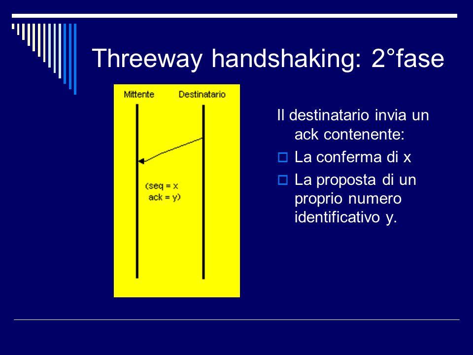 Threeway handshaking: 2°fase Il destinatario invia un ack contenente: La conferma di x La proposta di un proprio numero identificativo y.