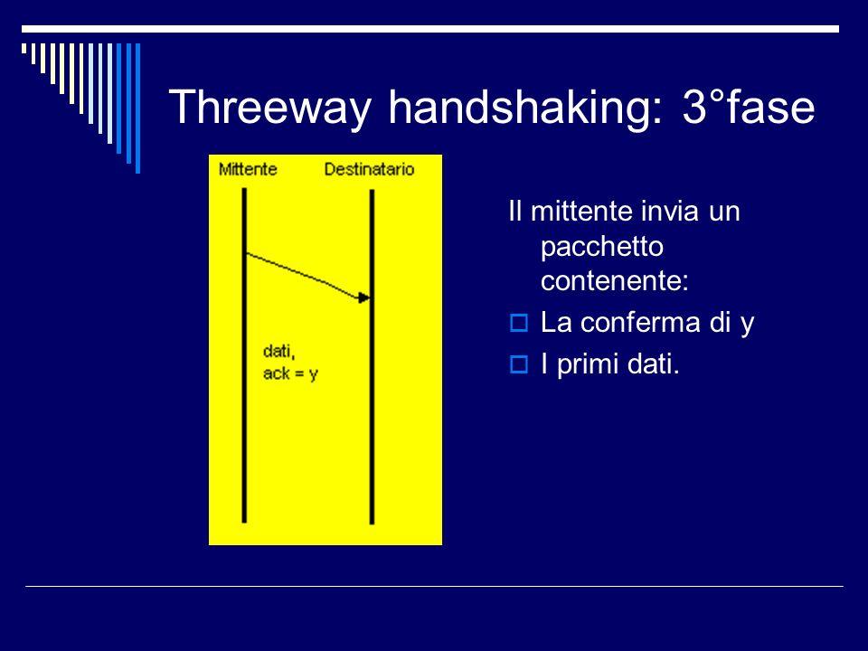 Threeway handshaking: 3°fase Il mittente invia un pacchetto contenente: La conferma di y I primi dati.