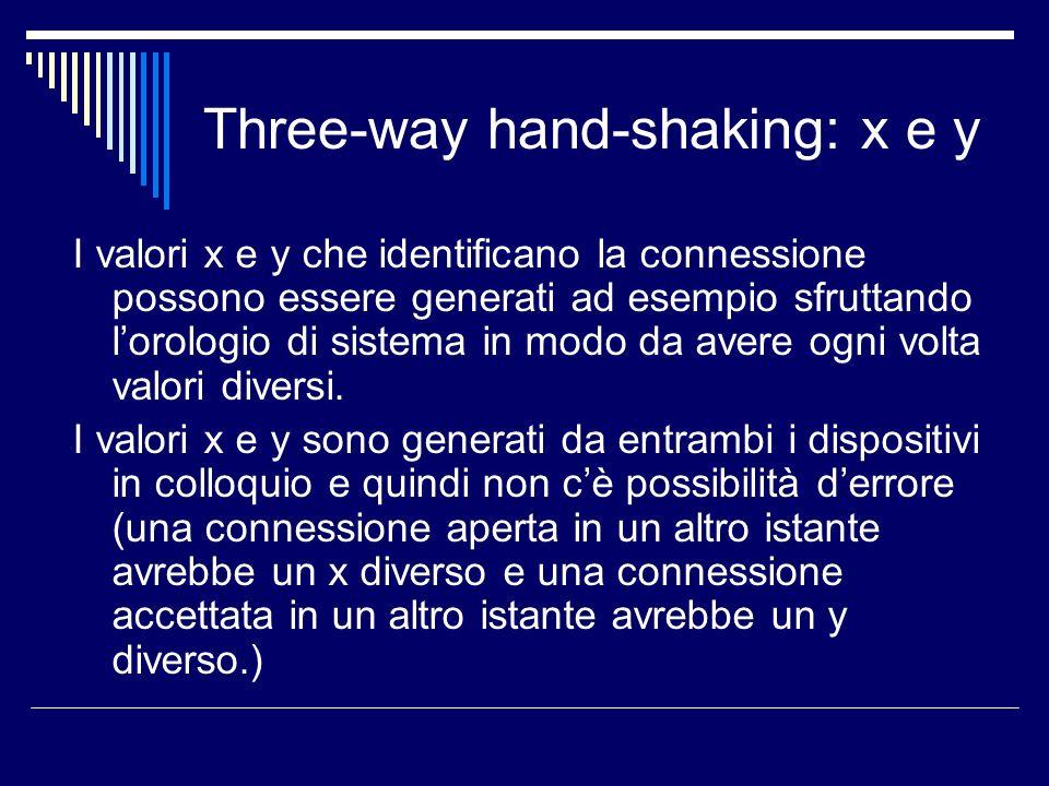 Three-way hand-shaking: x e y I valori x e y che identificano la connessione possono essere generati ad esempio sfruttando lorologio di sistema in mod