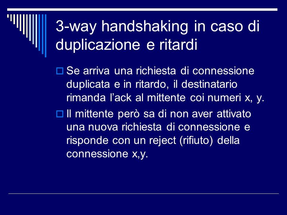 3-way handshaking in caso di duplicazione e ritardi Se arriva una richiesta di connessione duplicata e in ritardo, il destinatario rimanda lack al mit