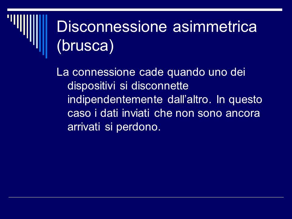 Disconnessione asimmetrica (brusca) La connessione cade quando uno dei dispositivi si disconnette indipendentemente dallaltro. In questo caso i dati i