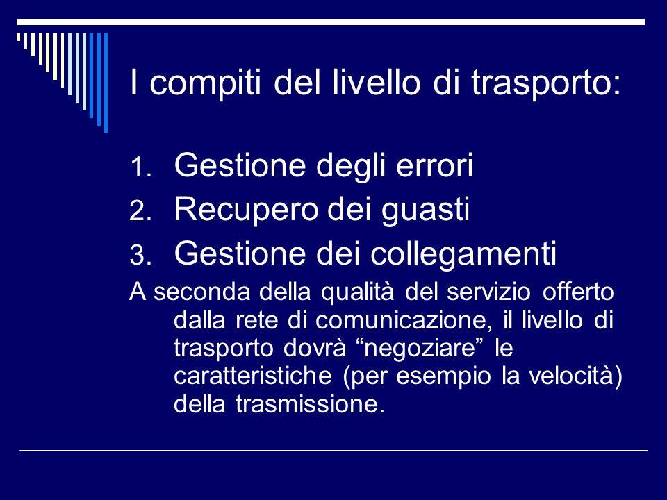 I compiti del livello di trasporto: 1. Gestione degli errori 2. Recupero dei guasti 3. Gestione dei collegamenti A seconda della qualità del servizio