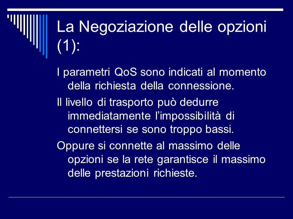La Negoziazione delle opzioni (1): I parametri QoS sono indicati al momento della richiesta della connessione. Il livello di trasporto può dedurre imm