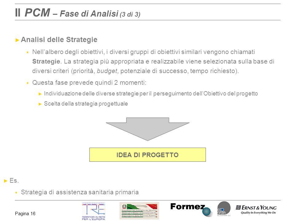 Pagina 16 Il PCM – Fase di Analisi (3 di 3) Analisi delle Strategie Nellalbero degli obiettivi, i diversi gruppi di obiettivi similari vengono chiamat