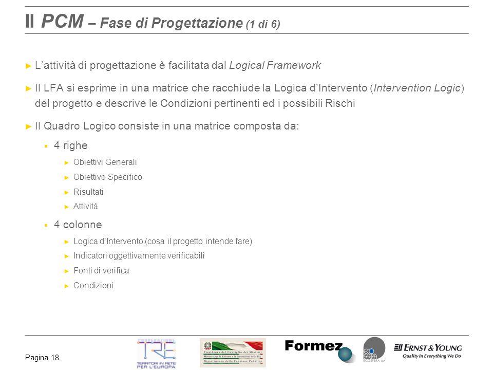 Pagina 18 Il PCM – Fase di Progettazione (1 di 6) Lattività di progettazione è facilitata dal Logical Framework Il LFA si esprime in una matrice che r