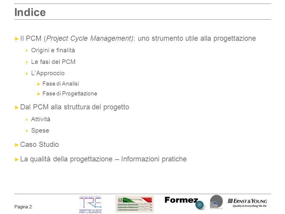 Pagina 2 Indice Il PCM (Project Cycle Management): uno strumento utile alla progettazione Origini e finalità Le fasi del PCM LApproccio Fase di Analis