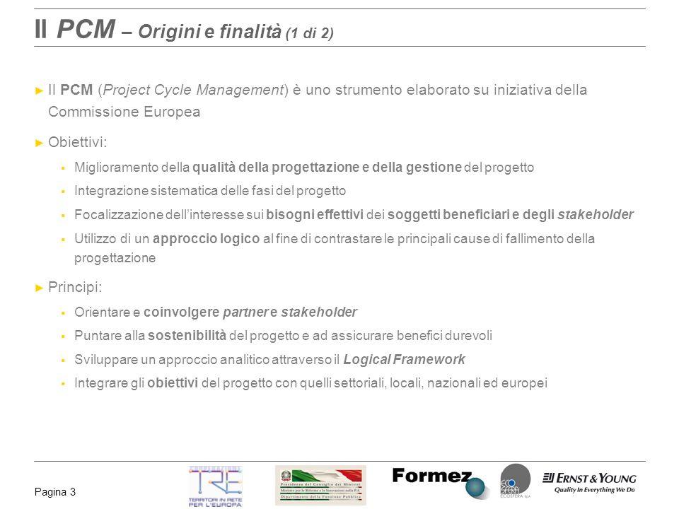 Pagina 3 Il PCM – Origini e finalità (1 di 2) Il PCM (Project Cycle Management) è uno strumento elaborato su iniziativa della Commissione Europea Obie