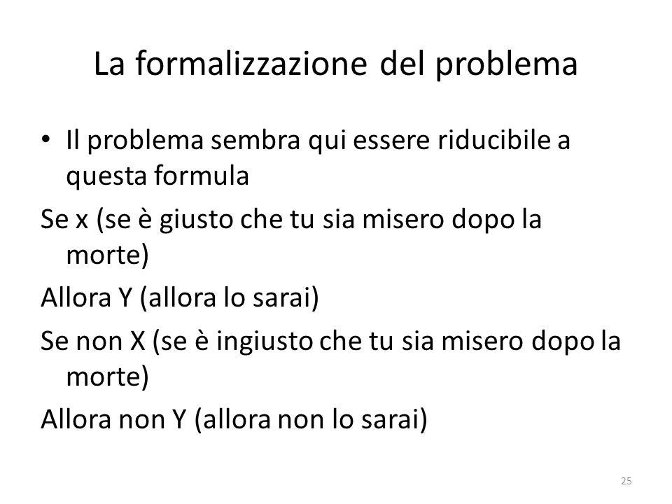 25 La formalizzazione del problema Il problema sembra qui essere riducibile a questa formula Se x (se è giusto che tu sia misero dopo la morte) Allora