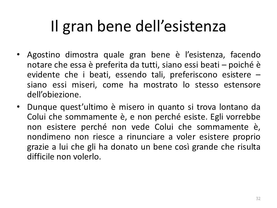32 Il gran bene dellesistenza Agostino dimostra quale gran bene è lesistenza, facendo notare che essa è preferita da tutti, siano essi beati – poiché