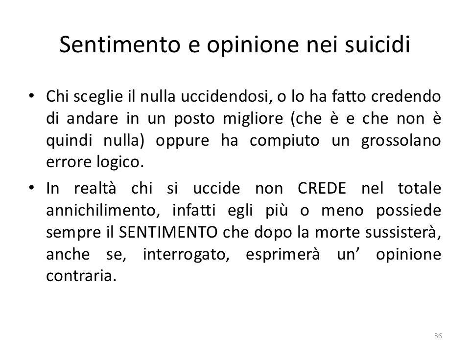 36 Sentimento e opinione nei suicidi Chi sceglie il nulla uccidendosi, o lo ha fatto credendo di andare in un posto migliore (che è e che non è quindi