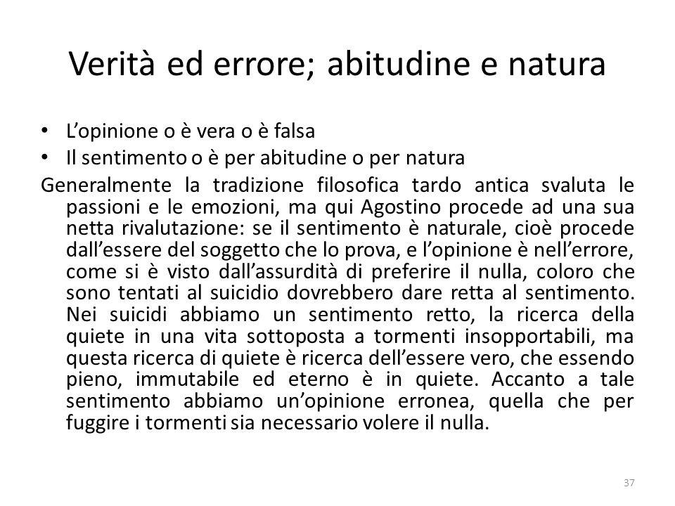 37 Verità ed errore; abitudine e natura Lopinione o è vera o è falsa Il sentimento o è per abitudine o per natura Generalmente la tradizione filosofic