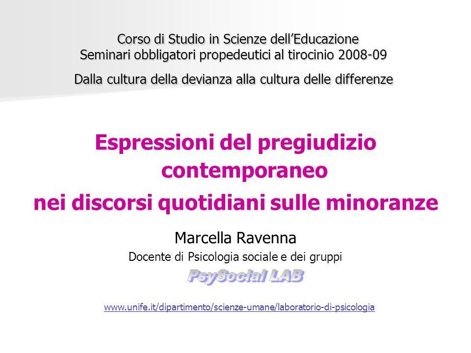 Corso di Studio in Scienze dellEducazione Seminari obbligatori propedeutici al tirocinio 2008-09 Dalla cultura della devianza alla cultura delle diffe