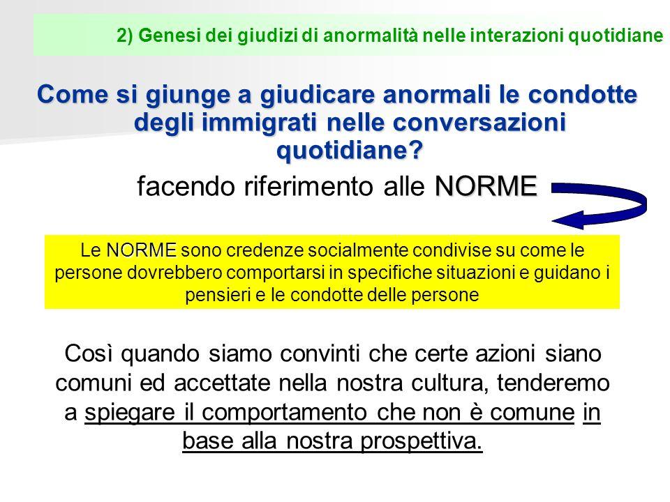 2) Genesi dei giudizi di anormalità nelle interazioni quotidiane Come si giunge a giudicare anormali le condotte degli immigrati nelle conversazioni quotidiane.