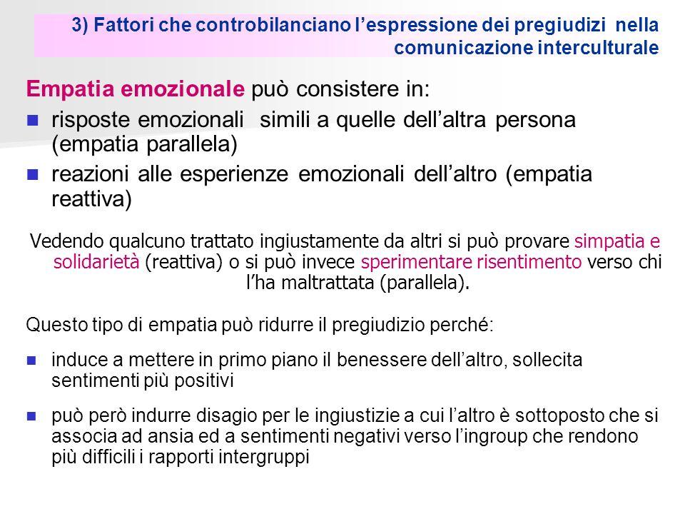 3) Fattori che controbilanciano lespressione dei pregiudizi nella comunicazione interculturale Empatia emozionale può consistere in: risposte emoziona