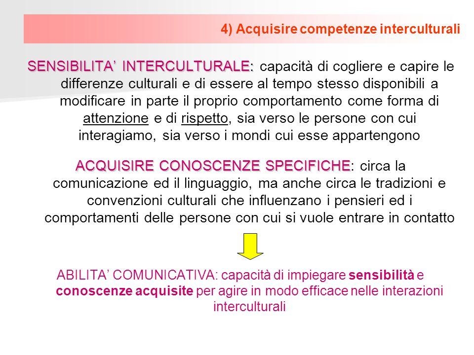 4) Acquisire competenze interculturali SENSIBILITA INTERCULTURALE: SENSIBILITA INTERCULTURALE: capacità di cogliere e capire le differenze culturali e