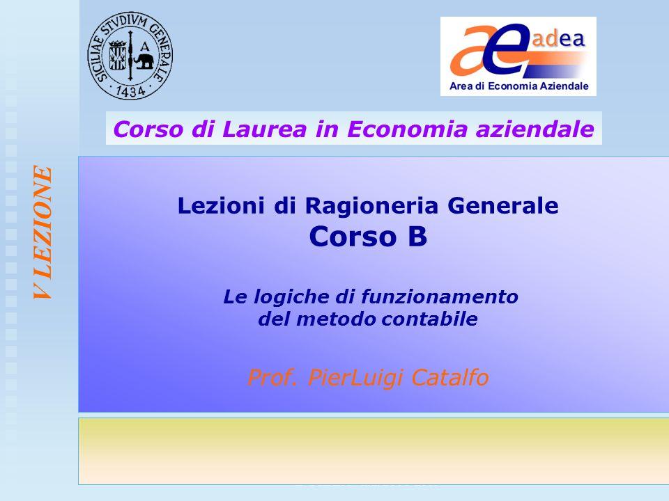 Corso di Ragioneria Generale- Corso B CdL EA - a.a. 2008-2009 V LEZIONE Lezioni di Ragioneria Generale Corso B Le logiche di funzionamento del metodo