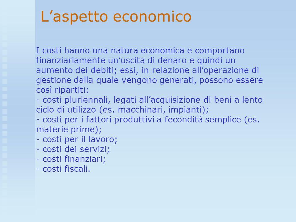 Laspetto economico I costi hanno una natura economica e comportano finanziariamente unuscita di denaro e quindi un aumento dei debiti; essi, in relazi