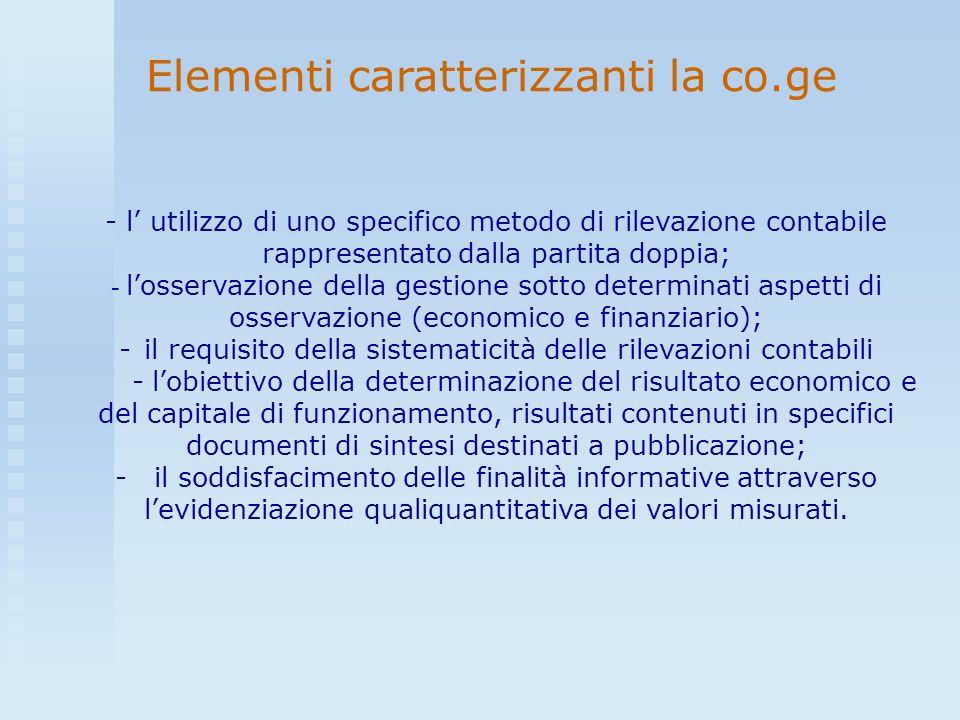 - l utilizzo di uno specifico metodo di rilevazione contabile rappresentato dalla partita doppia; - losservazione della gestione sotto determinati asp