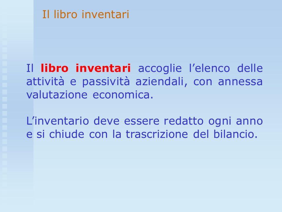 Il libro inventari accoglie lelenco delle attività e passività aziendali, con annessa valutazione economica. Linventario deve essere redatto ogni anno