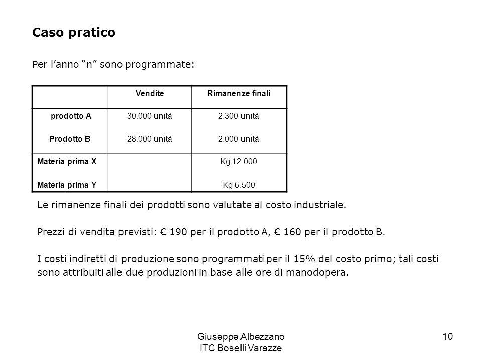 Giuseppe Albezzano ITC Boselli Varazze 10 Caso pratico Per lanno n sono programmate: VenditeRimanenze finali prodotto A Prodotto B 30.000 unità 28.000