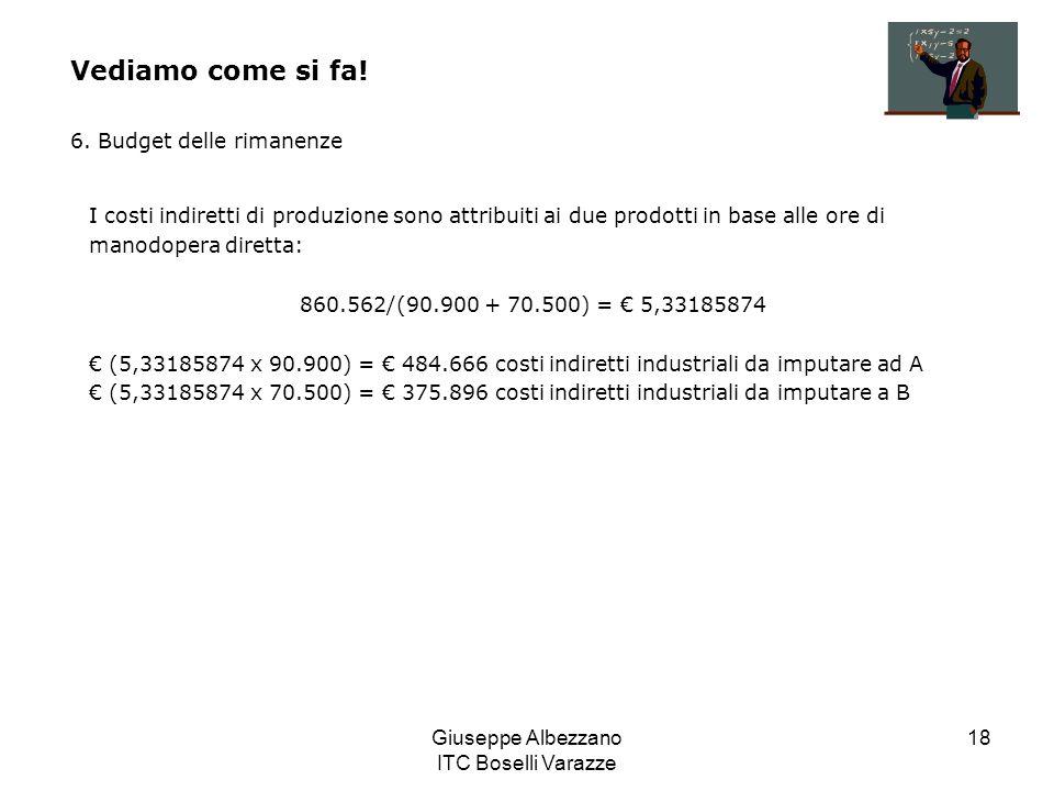 Giuseppe Albezzano ITC Boselli Varazze 18 Vediamo come si fa! 6. Budget delle rimanenze I costi indiretti di produzione sono attribuiti ai due prodott