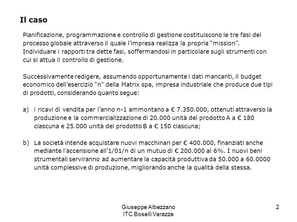 Giuseppe Albezzano ITC Boselli Varazze 2 Pianificazione, programmazione e controllo di gestione costituiscono le tre fasi del processo globale attrave