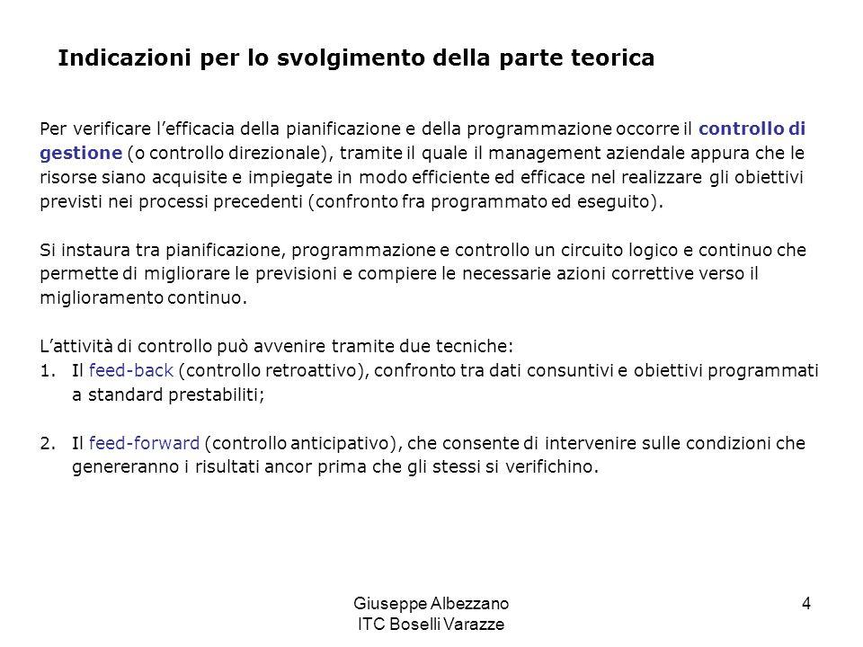 Giuseppe Albezzano ITC Boselli Varazze 4 Indicazioni per lo svolgimento della parte teorica Per verificare lefficacia della pianificazione e della pro