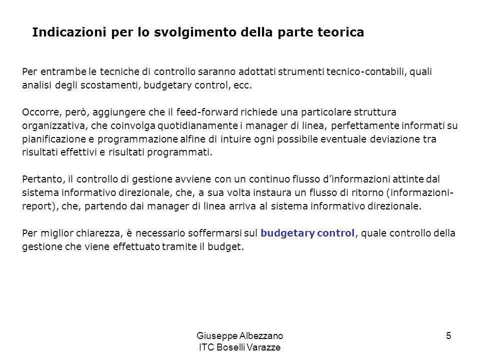 Giuseppe Albezzano ITC Boselli Varazze 5 Indicazioni per lo svolgimento della parte teorica Per entrambe le tecniche di controllo saranno adottati str